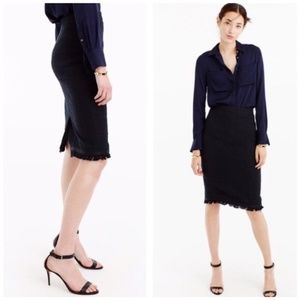 J. CREW Fringe Hem Tweed Woven Trim Pencil Skirt 0